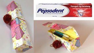 CREATIVE IDEAS MAKE PENCIL BOX FROM KARDUS ODOL | RECYCLE TOOTHPASTE BOX