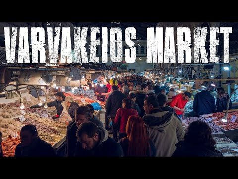 Walk In Varvakeios Agora (fish Market) In Athens, Open The Night Before Clean Monday