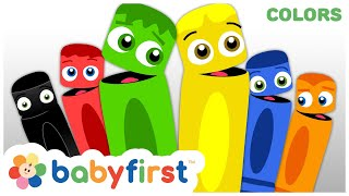 Learn Colors w Color Crew   Green Red Yellow Black Blue & Orange   Coloring for Kids   Baby First TV