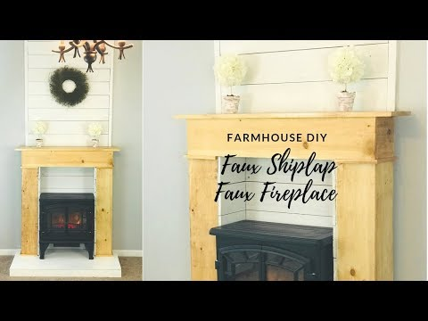 DIY FAUX FIREPLACE WITH FAUX SHIPLAP