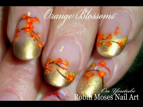 Diy Orange Flower Nail Art Easy Fall Nails Design Tutorial Youtube