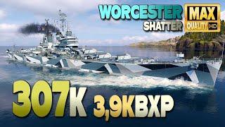 Крейсер Вустер на карте Shatter, урон 307к - World of Warships