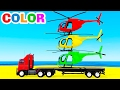 COLOR HELICOPTER on Truck & Cars Cartoon for Kids & Colors for Children w Nursery Rhymes