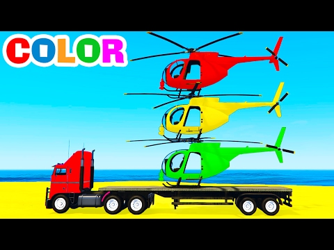 Thumbnail: COLOR HELICOPTER on Truck & Spiderman Cars Cartoon for Kids & Colors for Children w Nursery Rhymes