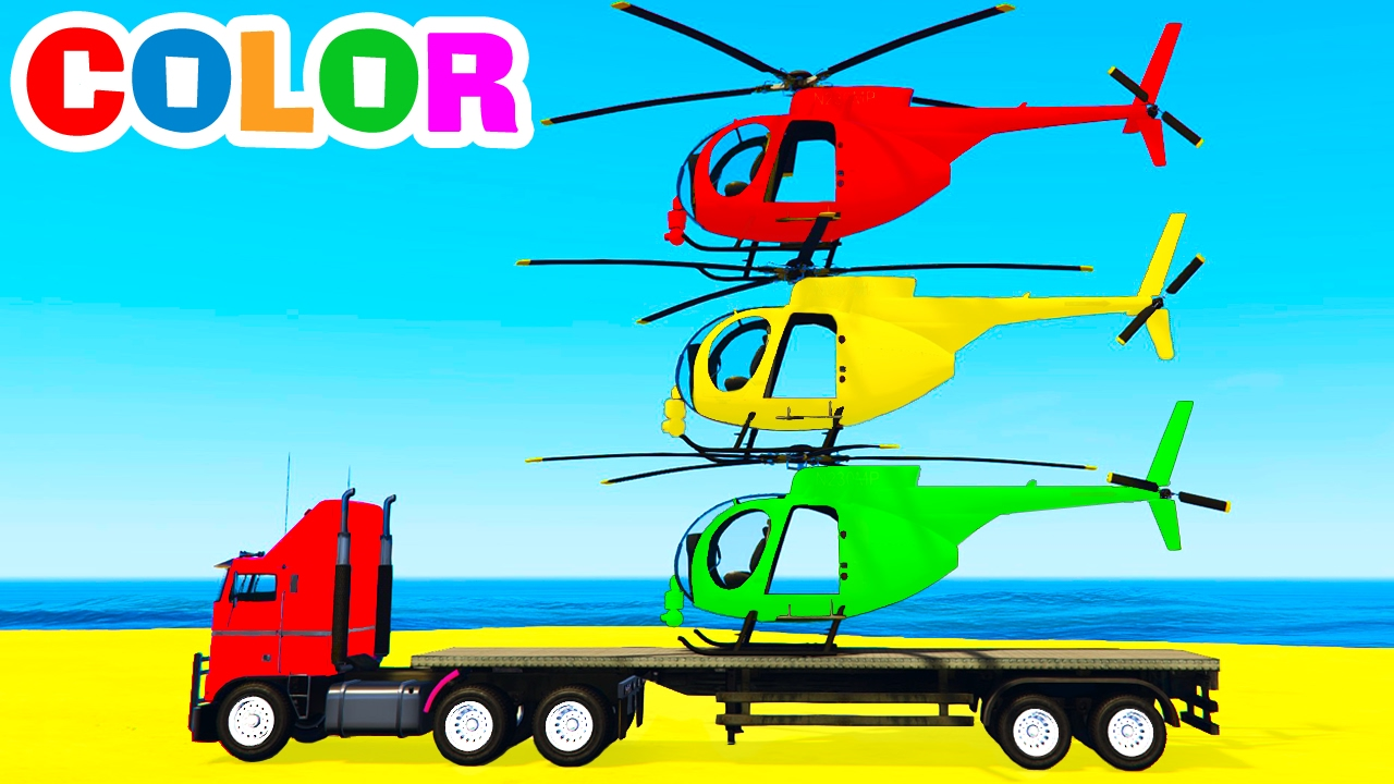 Colour cars rhymes - Color Helicopter On Truck Spiderman Cars Cartoon For Kids Colors For Children W Nursery Rhymes Youtube