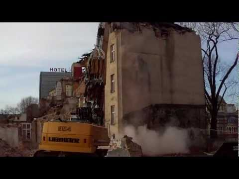 Demolition - Construction of the railway station - Disposal of old houses -  Lodz Poland 2012