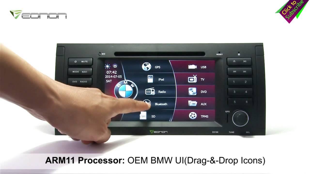 Eonon d5166 bmw e39 e53 car dvd gps with bmw special ui nfc urc external mic youtube