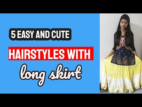 5-easy-and-cute-hairstyles-with-long-skirt-/-lehenga.-messy-bun.-new-hairstyles.-party-hairstyles.
