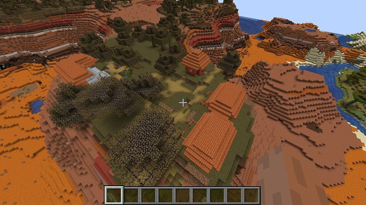 Minecraft 9.94 Seed 960: Mesa surrounded by villages and temples