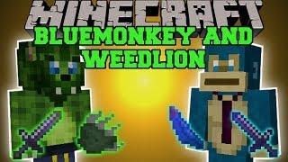 Minecraft: WEEDLION AND BLUEMONKEY MOD (BANANA GUN & RUN OVER MOBS!) Team Crafted Mod Showcase