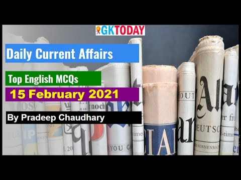 Daily Current affairs In English  Today's GK   15 February 2021