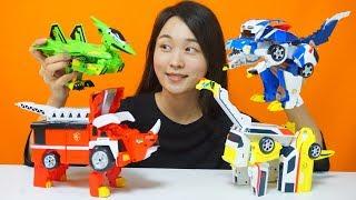 쥬라기캅스 장난감 자동차 공룡변신!!! 쥬렉스 쥬키오 쥬테라 쥬톱스 변신공룡 로봇 영상