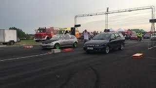 Honda Civic 1.8 drag car vs Fiat Marea 1.9 Multijet chiptuning - 1/4 mile drag racing