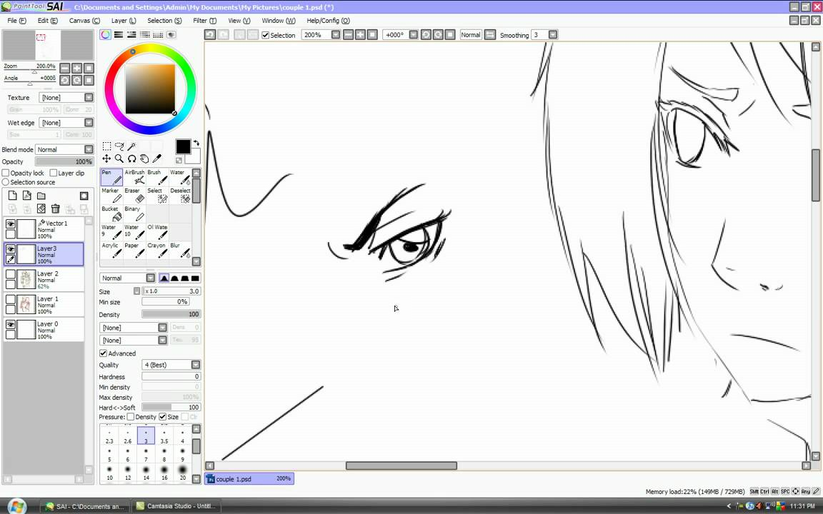 Line Art Paint Tool Sai Tutorial