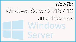 Windows 10 install on proxmox