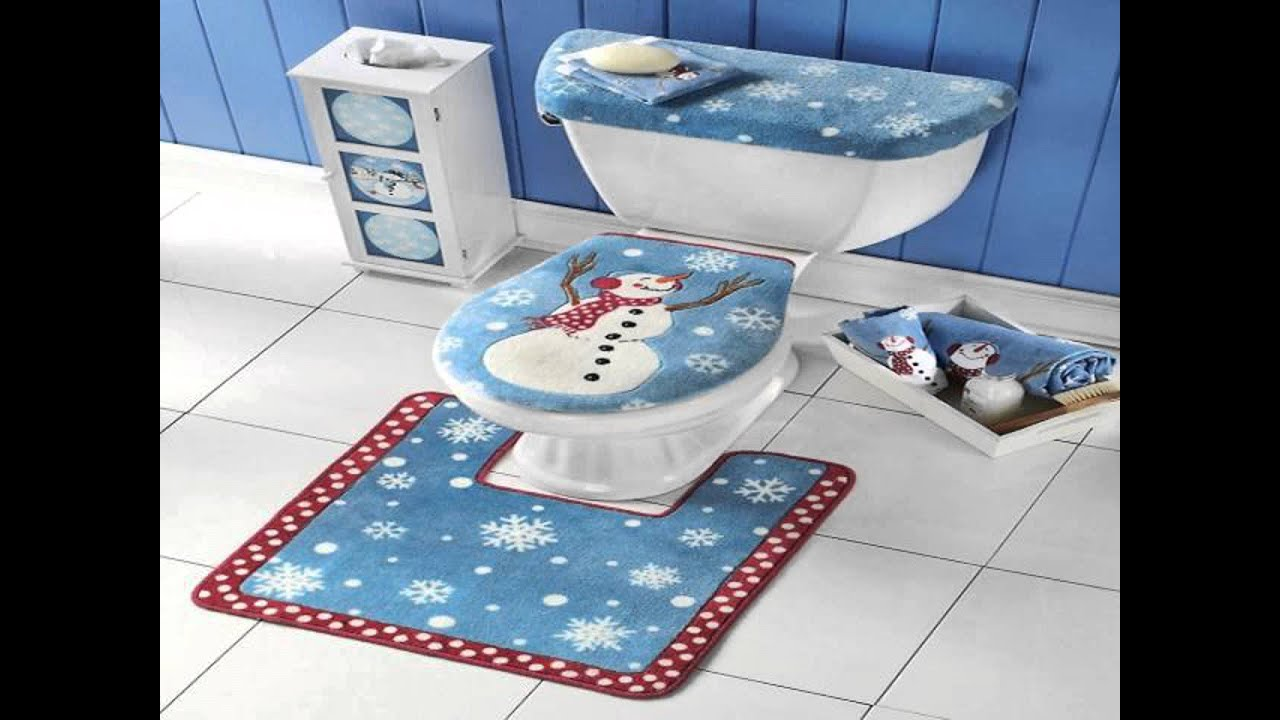 Snowman Bathroom Toilet Seat Cover And Rug Set YouTube - Blue bath mat set for bathroom decorating ideas