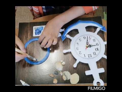 Декорирование настенных часов в морском стиле