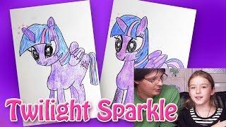 Как рисовать Пони Twilight Sparkle из мультика My Little Pony | Урок рисования Как рисовать Пони(Папа покажет как рисовать Пони. Это маленькое развивающее видео - урок рисования - раскраска для детей. Анге..., 2015-11-20T22:50:18.000Z)