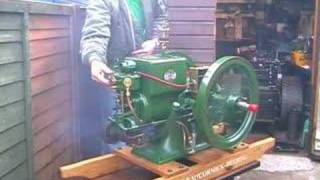 First start of vintage gas engine,