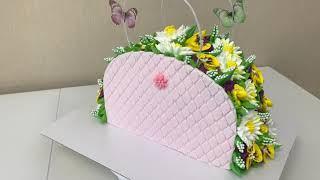 ТОРТ ЖЕНСКАЯ СУМКА Торт сумка с ФИАЛКАМИ И РОМАШКАМИ Торт Сумочка из БЗК Красивый торт