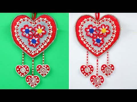 💖 Easy Beautiful wall hanging craft ideas diy 😍 Heart shaped Wall hanging craft ideas
