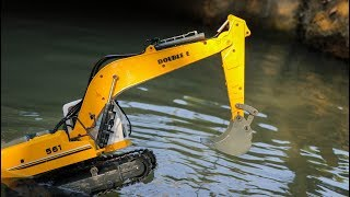 Construction vehicles jump into Rivers , Excavator ,Truck ,Wheel loader , Bulldozer