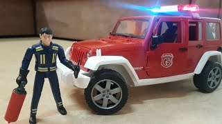 Fire Engine Jeeb WRANGLER Bruder 1:16 Dlan Video for Kids