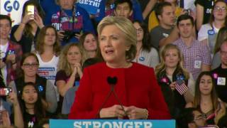Hillary Clinton last campaign speech ahead of US presidential election
