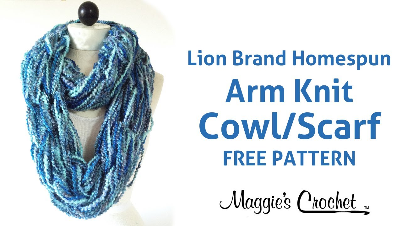 Arm Knit Cowl Infinity Scarf With Lion Brand Homespun Yarn Right