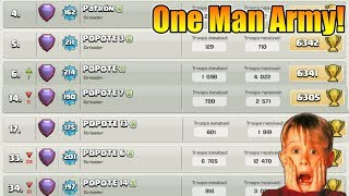 One Man Army In Clash Of Clans   One Player 15 to 20 Account on Global Leaderboard