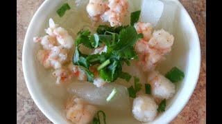 Vietnamese Opo Squash With Shrimp Soup Recipe - Canh Bau Nau Tom