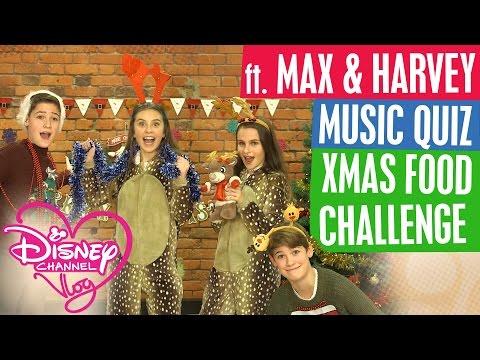 DISNEY CHANNEL VLOG ft. MAX & HARVEY | MUSIC QUIZ | XMAS FOOD CHALLENGE