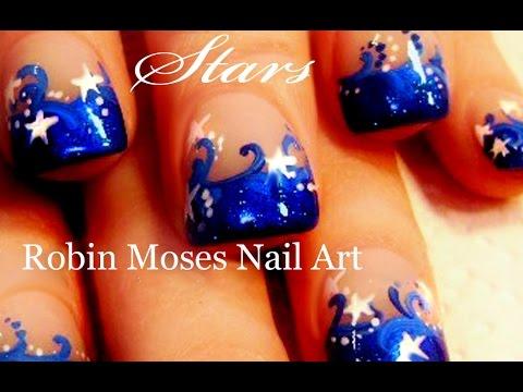 Nail Art Stars Blue And White Star Nails Art Design Tutorial Youtube