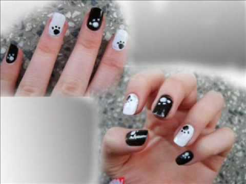 Elegant black white nail art designs