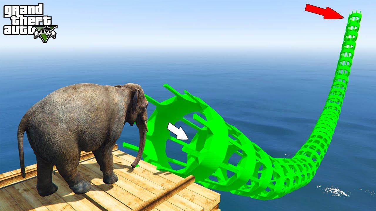 Download Elephant Jumps Inside Green a Pipe - Gta 5 قراند 5 :الفيل يقفز داخل الأنبوب الأخضر