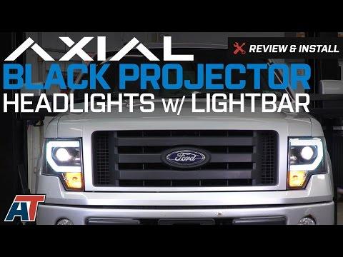 2009-2014 F150 Axial Black Projector Headlights W/ DRL LightBar Review & Install