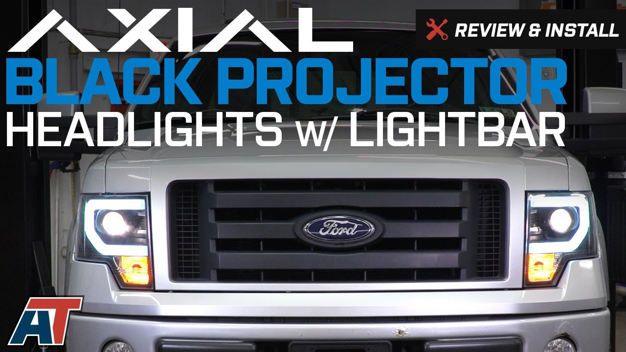 2014 F150 Headlights >> 2009 2014 F150 Axial Black Projector Headlights W Drl Lightbar Review Install