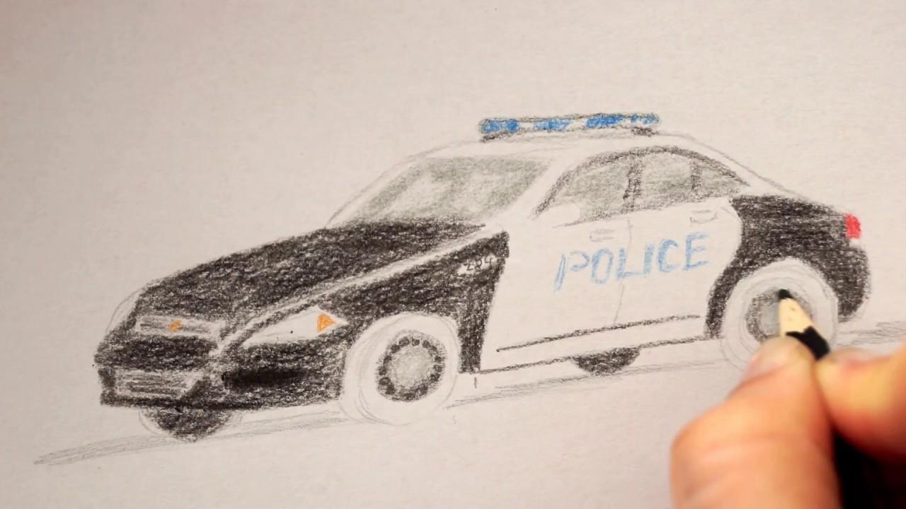 Polizeiauto zeichnen lernen - how to draw a police car - как ...