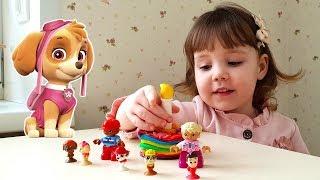 Щенячий Патруль помогает Диане приготовить для Ромы торт из Play-Doh