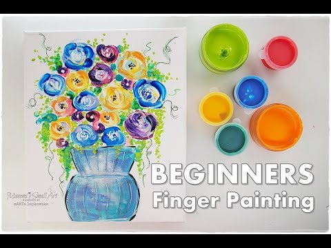 Finger Painting Flowers in a Vase ♡ BEGINNERS Technique ♡ Maremi's Small Art ♡