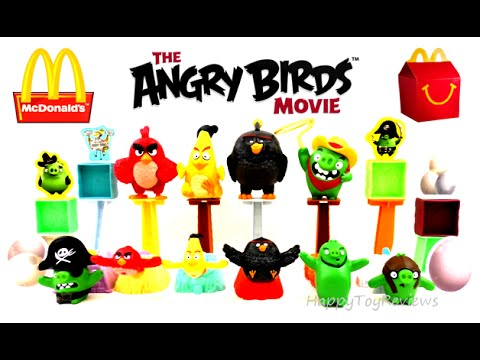 2016 THE ANGRY BIRDS MOVIE McDONALD'S SET OF 10 HAPPY MEAL KIDS TOYS ROVIO COLLECTION REVIEW 3D FILM