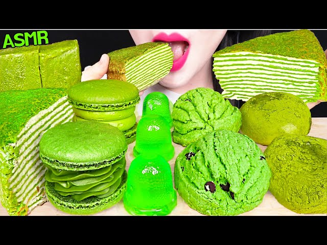 ASMR GREEN TEA TERRINE, JELLO CUP, MATCHA MACARON, RICE CAKES 녹차 테린느, 컵 젤리, 녹차 찹쌀떡 먹방 EATING SOUNDS