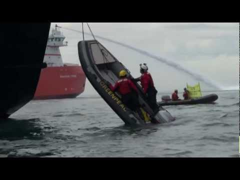 Greenpeace boat flipped by Gazprom