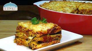 Pastel de berenjenas con macarrones y queso, riquísimo, súper fácil y delicioso - Loli Domínguez