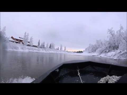 Mini Jet Boat Winter River Running, Chena River Alaska