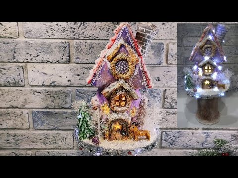 Рождественский(новогодний)домик с подсветкой из соленого теста.Мастер-класс.Поделки.DIY.