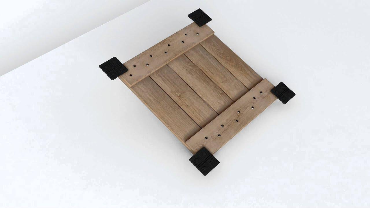 norsilk - montage de caillebotis bois hévéa avec squareclip novlek