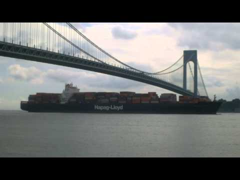 Container Ship NAGOYA EXPRESS Inbound Under Verrazano Narrows Bridge in New York (June 19, 2014)