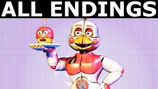 FNAF 6 ALL ENDINGS Freddy Fazbear s Pizzeria Simulator All Possible Ending Outcomes