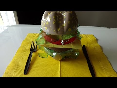 Best out of waste crafts ideas diy plastic bottle burger for Best out of waste ideas from plastic bottles for kids